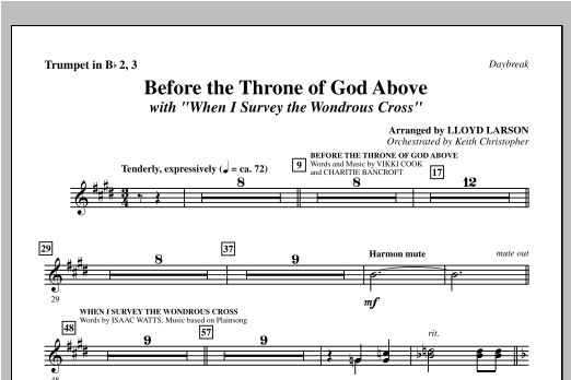"Before The Throne Of God Above (with ""When I Survey The Wondrous Cross"") - Trumpet 2 & 3 Sheet Music"