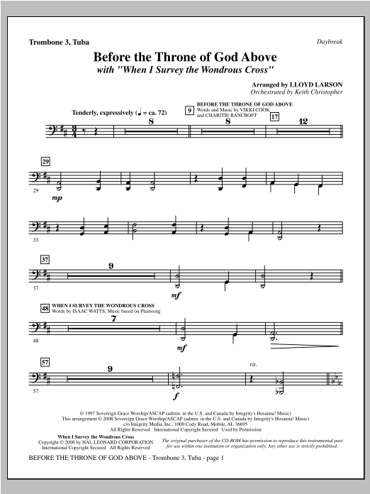 "Before The Throne Of God Above (with ""When I Survey The Wondrous Cross"") - Trombone 3/Tuba Sheet Music"