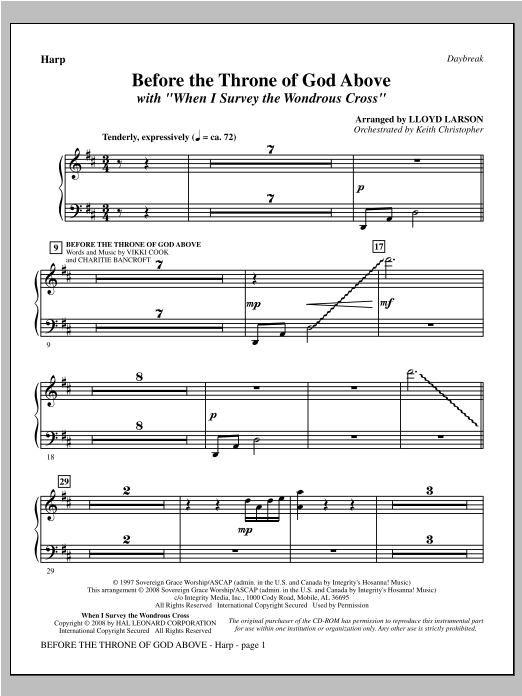 "Before The Throne Of God Above (with ""When I Survey The Wondrous Cross"") - Harp Sheet Music"