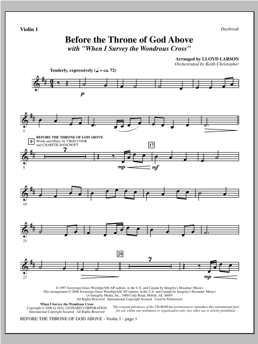 "Before The Throne Of God Above (with ""When I Survey The Wondrous Cross"") - Violin 1 Sheet Music"