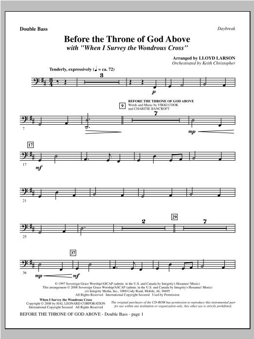 """Before The Throne Of God Above (with """"When I Survey The Wondrous Cross"""") - Double Bass Sheet Music"""