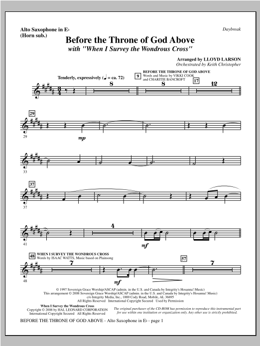 """Before The Throne Of God Above (with """"When I Survey The Wondrous Cross"""") - Alto Sax (sub. Horn) Sheet Music"""
