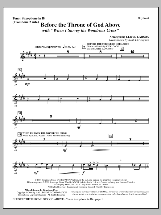 "Before The Throne Of God Above (with ""When I Survey The Wondrous Cross"") - Tenor Sax (sub. Tbn 2) Sheet Music"