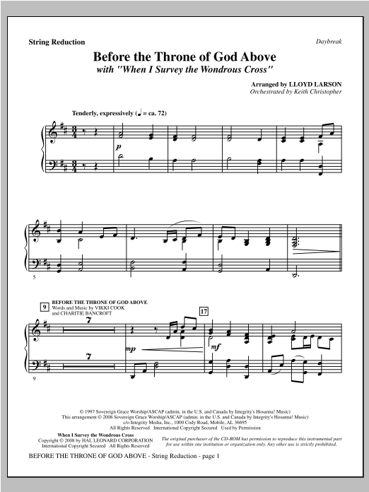 "Before The Throne Of God Above (with ""When I Survey The Wondrous Cross"") - Keyboard String Reduction Sheet Music"