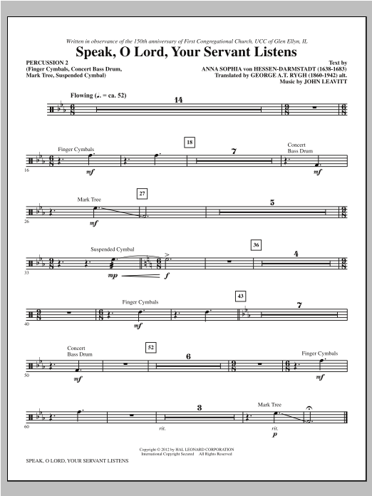 Speak, O Lord, Your Servant Listens - Percussion 2 Sheet Music