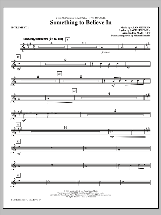 Something To Believe In (from Newsies) - Bb Trumpet 1 Sheet Music