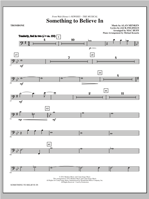 Something To Believe In (from Newsies) - Trombone Sheet Music