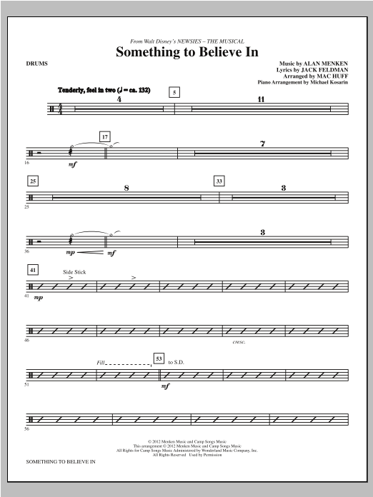 Something To Believe In (from Newsies) - Drums Sheet Music