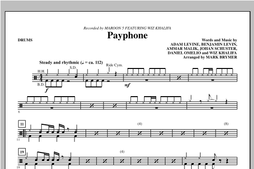 Payphone - Drums Sheet Music