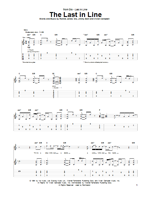 Tablature guitare The Last In Line de Dio - Tablature Guitare