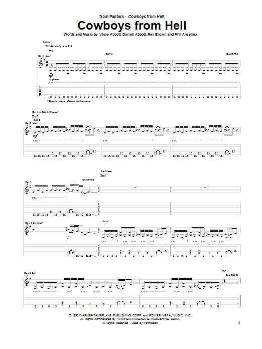 Cowboys From Hell Sheet Music