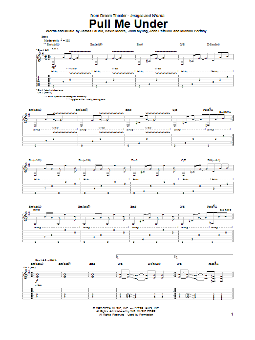 Pull Me Under (Guitar Tab)