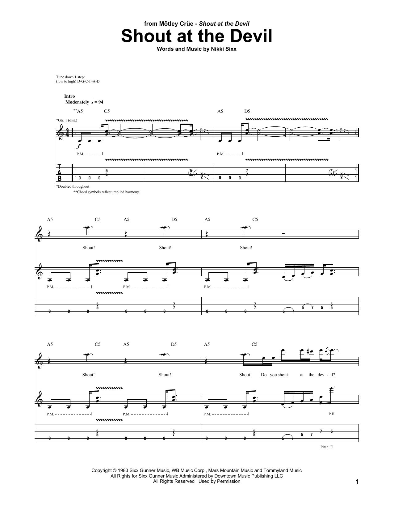 Shout At The Devil Sheet Music