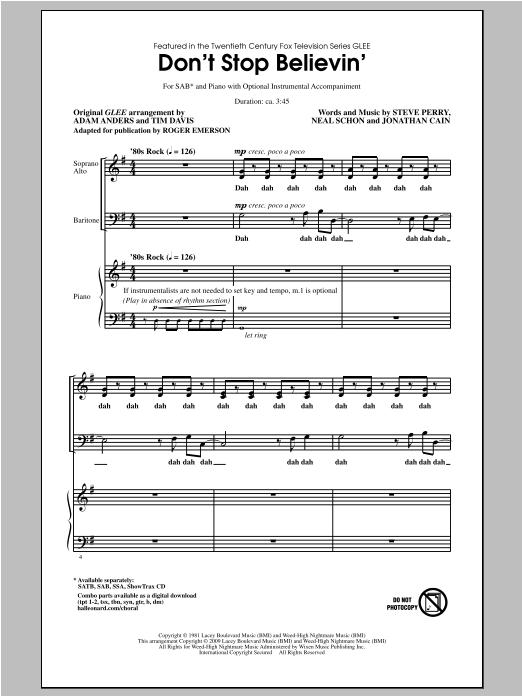 Don't Stop Believin' (arr. Roger Emerson) Sheet Music