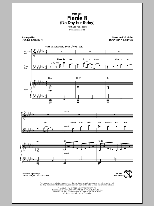 Finale B (No Day But Today) (arr. Roger Emerson) Sheet Music