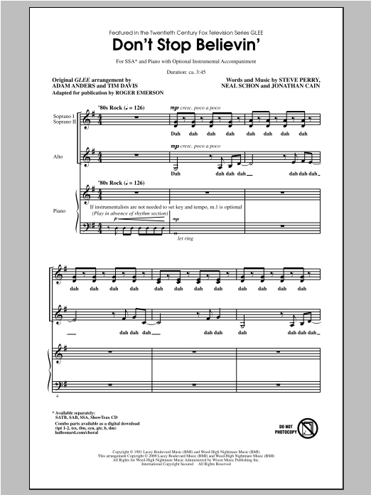 Don't Stop Believin' (arr. Roger Emerson) Sheet Music