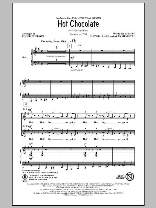 Hot Chocolate (arr. Roger Emerson) Sheet Music