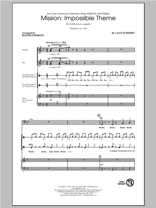Partition chorale Impossible Theme de Mission - SATB