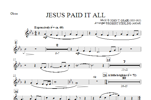 Jesus Paid It All - Oboe Sheet Music