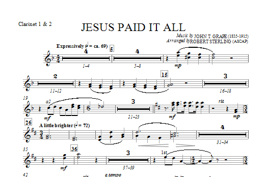 Jesus Paid It All - Bb Clarinet 1,2 Sheet Music
