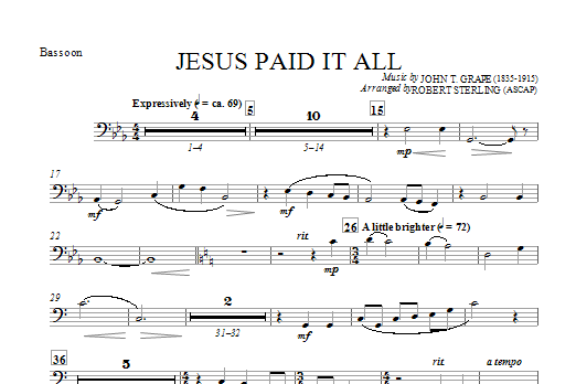 Jesus Paid It All - Bassoon (Choir Instrumental Pak)