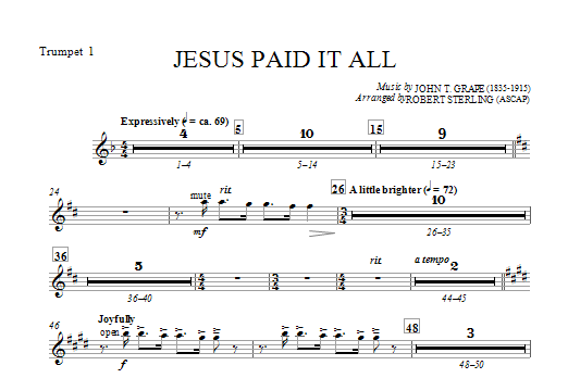 Jesus Paid It All - Bb Trumpet 1 (Choir Instrumental Pak)