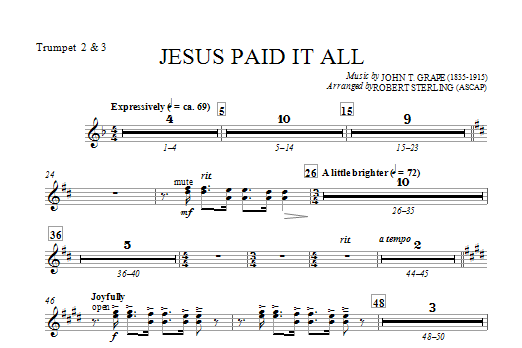 Jesus Paid It All - Bb Trumpet 2,3 (Choir Instrumental Pak)