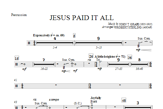 Jesus Paid It All - Percussion (Choir Instrumental Pak)