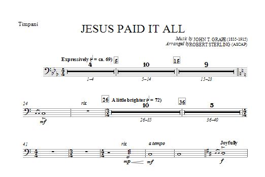 Jesus Paid It All - Timpani Sheet Music