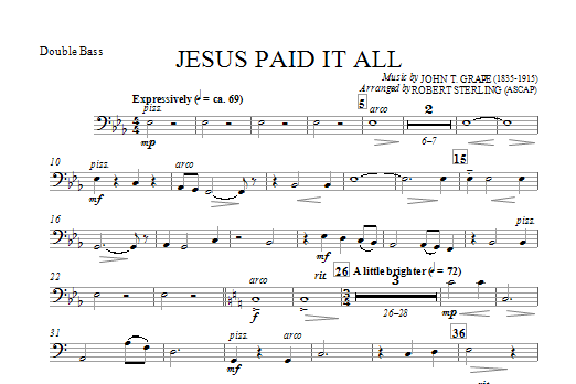 Jesus Paid It All Double Bass Sheet Music Direct