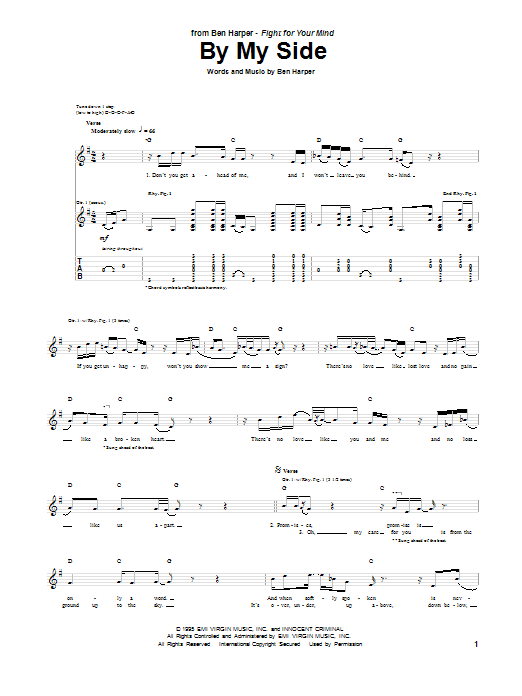 Tablature guitare By My Side de Ben Harper - Tablature Guitare