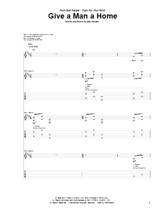 Tablature guitare Give A Man A Home de Ben Harper - Tablature Guitare