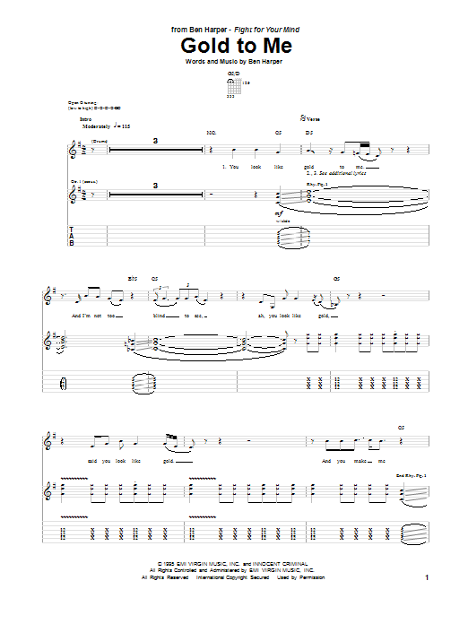 Tablature guitare Gold To Me de Ben Harper - Tablature Guitare