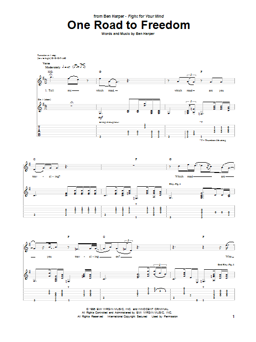 One Road To Freedom Sheet Music