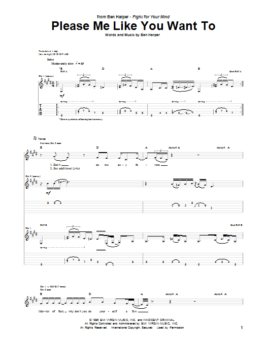 Tablature guitare Please Me Like You Want To de Ben Harper - Tablature Guitare
