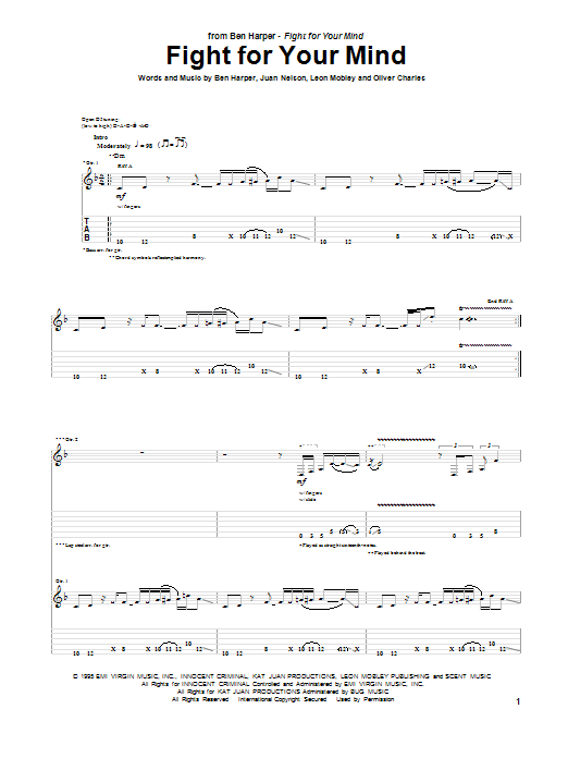 Tablature guitare Fight For Your Mind de Ben Harper - Tablature Guitare