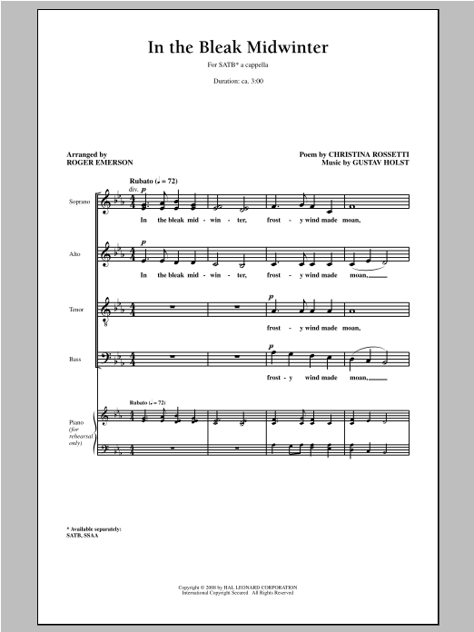 Partition chorale In The Bleak Midwinter de Roger Emerson - SATB