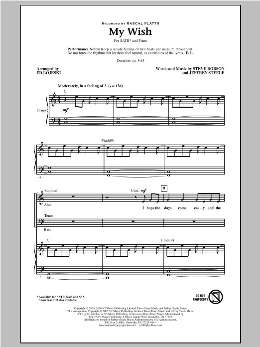 Partition chorale My Wish de Rascal Flatts - SATB