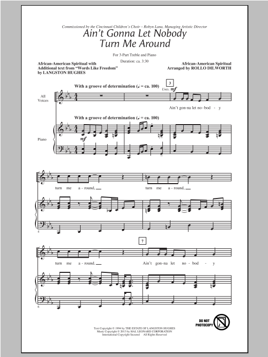 Ain't Gonna Let Nobody Turn Me Around (arr. Rollo Dilworth) Sheet Music