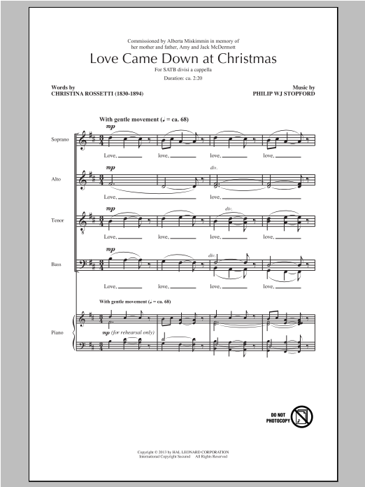 Partition chorale Love Came Down At Christmas de Philip Stopford - SATB