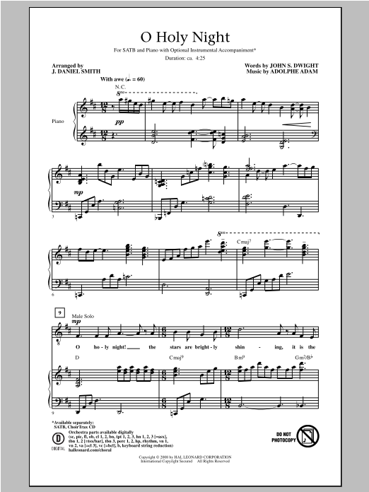 Partition chorale O Holy Night de J. Daniel Smith - SATB