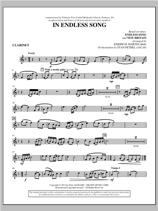 In Endless Song - Clarinet Sheet Music