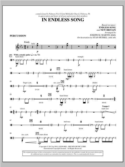 In Endless Song - Percussion Sheet Music