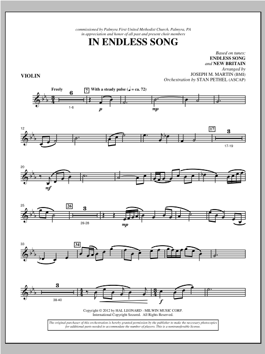 In Endless Song - Violin Sheet Music