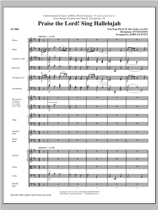 Praise The Lord! Sing Hallelujah (COMPLETE) sheet music for orchestra/band by John Leavitt. Score Image Preview.
