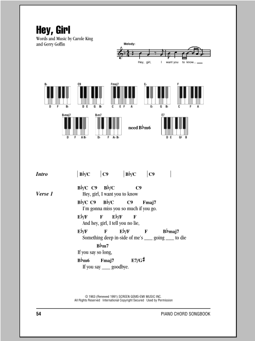 Hey, Girl Sheet Music