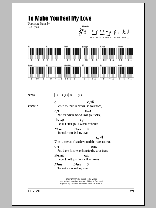 To Make You Feel My Love Sheet Music By Billy Joel Lyrics Piano