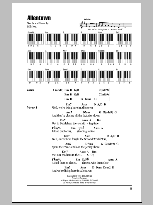 Allentown Sheet Music