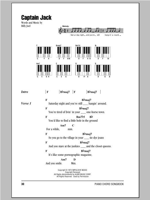 Captain Jack Sheet Music Direct
