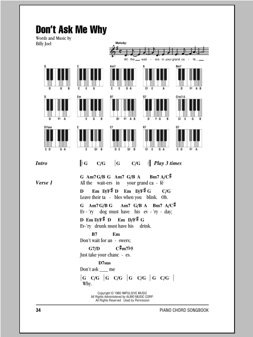 Don't Ask Me Why (Piano Chords/Lyrics)